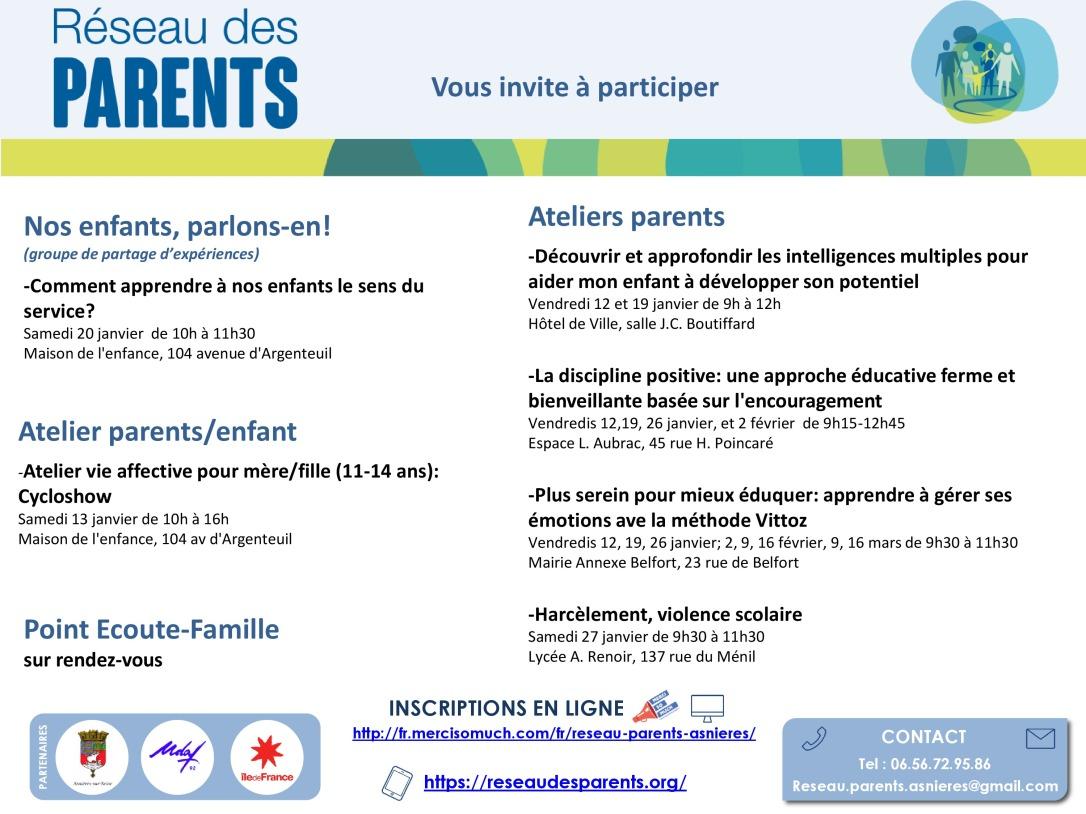 programmation Réseau des Parents janvier 2018